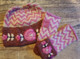 Peruvian Trading Co. Hat & Cut off Mittens  Pink/Cream