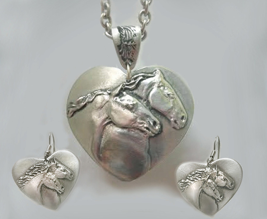 Horse Heart Pendant & Earring set