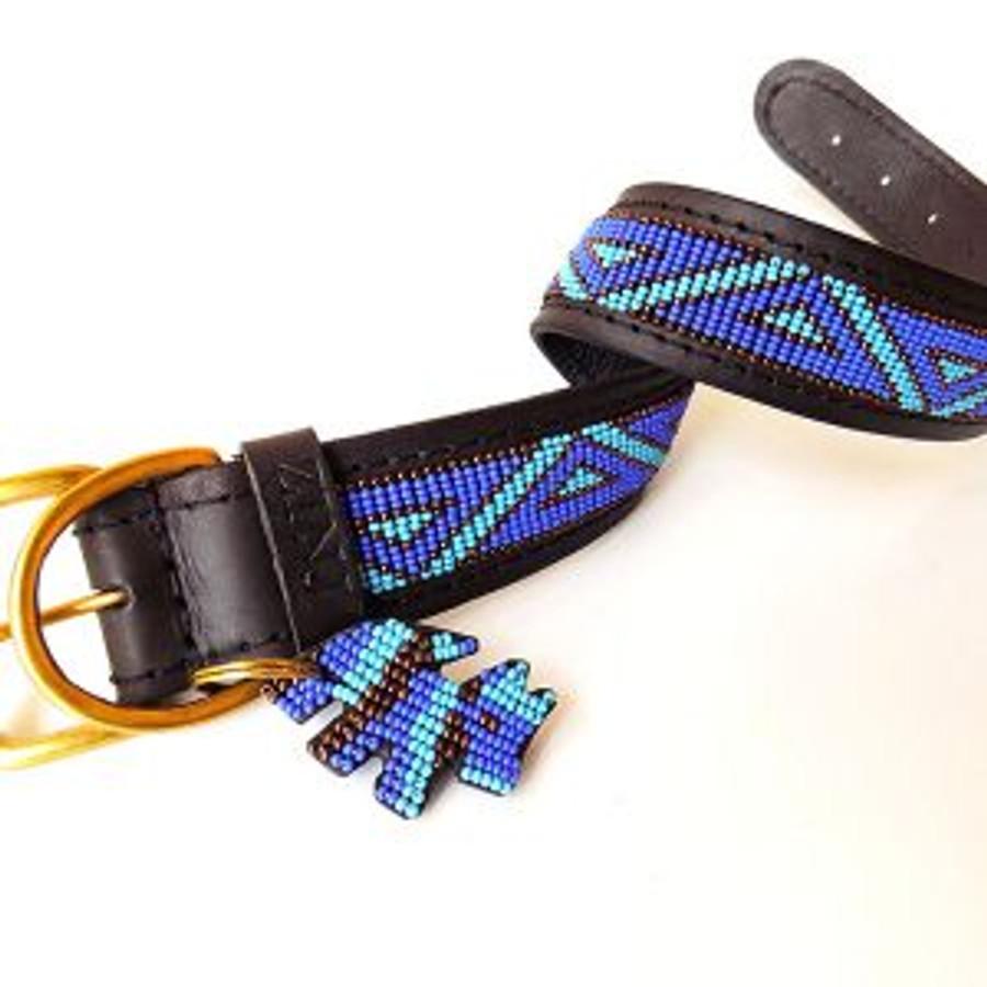 Kabaka  Blue Dog Collar from Kenya