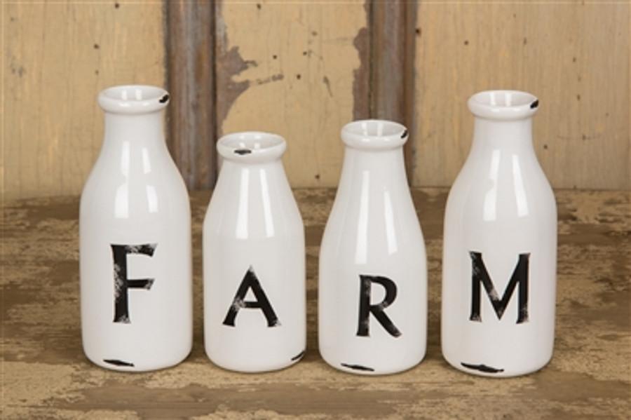Milk Bottles / Farm /Set of 4