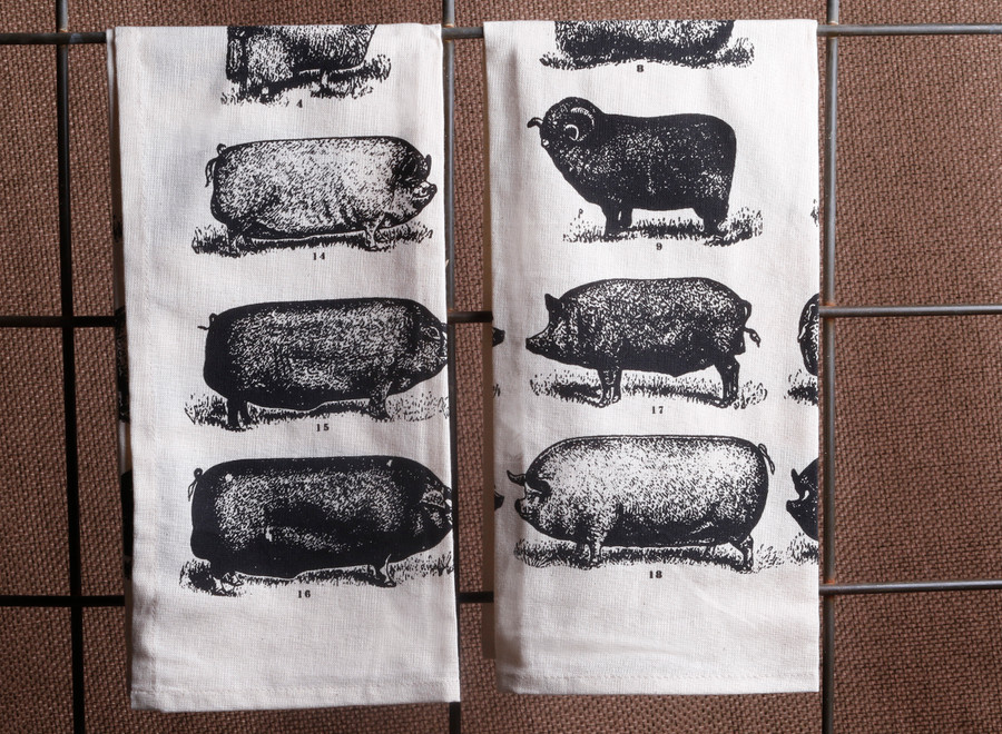 Sheep & Pig Tea Towel / Vintage Print /19.5 x 27.5""