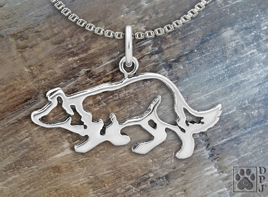"Border Collie Crouch Pendant /Sterling Silver 1""x 2"""