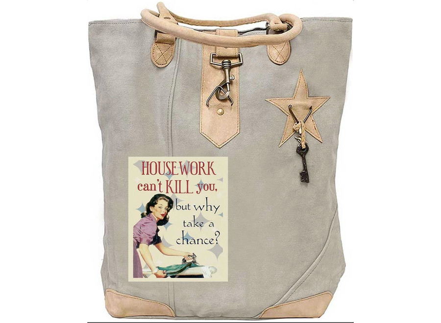House Work Cant Kill You/ Canvas Tote/ Vintage Addiction