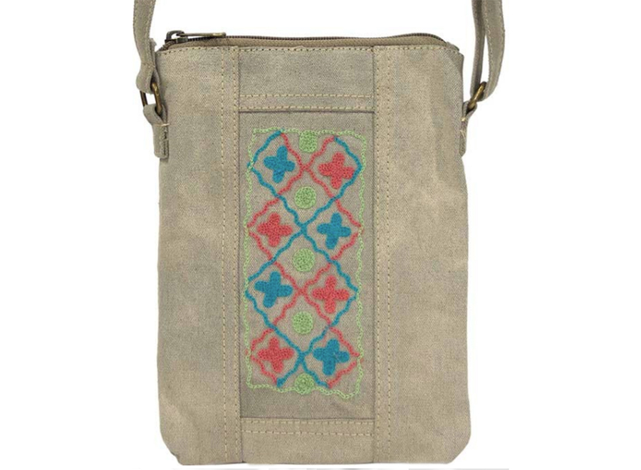 Canvas Crossbody Bag/ Desert Sand Coral Teal / Vintage Addiction