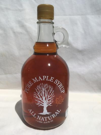 Maple Syrup Liter Glass Jug