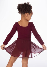 Bloch Pull-On Barre Ballet Dance Skirt Red front. [Red]