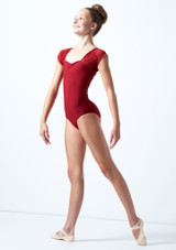 Ballet Rosa Teen Floral Embroidery Cap Sleeve Mesh Leotard Red Front-1 [Red]