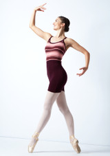 Move Dance Amara Striped Knit Dance Warm Up Suit Fig [[88]] Front-1 [Fig [[88]]]
