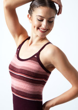 Move Dance Amara Striped Knit Dance Warm Up Suit Fig [[88]] Close up front-1 [Fig [[88]]]