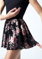 Move Dance Teen Louise Floral Sheer Mesh Pull On Skirt Black Close up front-1 [Black]