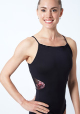 Move Dance Petal Floral Camisole Leotard Black Close up front-1 [Black]