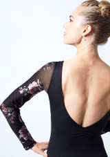Move Dance Rachel Floral Long Sleeve Leotard Black Close up back-1 [Black]