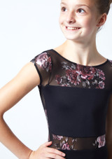 Move Dance Teen Dynamic Floral Cap Sleeve Leotard Black Close up front-1 [Black]