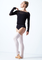 Move Dance Spirit Mesh Long Sleeve Crop Top Black Front-1 [Black]