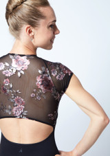 Move Dance Isadora Floral Zip Up Leotard Black Close up back-1 [Black]