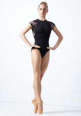 Move Dance Isadora Floral Zip Up Leotard Black Front-1 [Black]