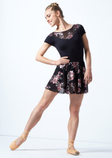 Move Dance Louise Floral Sheer Mesh Pull On Skirt Black Front-1 [Black]