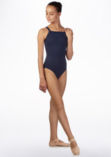 Ballet Rosa Wide Cross Back Leotard Blue front. [Blue]