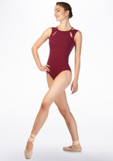 Intermezzo Cut Out Tank Leotard Red front. [Red]