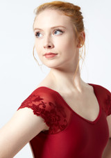 Ballet Rosa Lace Cap Sleeve Leotard Red front #2. [Red]