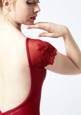Ballet Rosa Lace Cap Sleeve Leotard Red back #2. [Red]