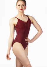 So Danca Mock Tie Lace Leotard Red front. [Red]