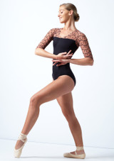 Ballet Rosa 3/4 Sleeve Open Back Leotard Toffee Front-1 [Toffee]