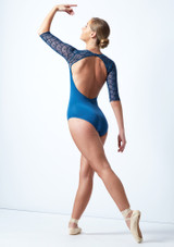 Ballet Rosa 3/4 Sleeve Open Back Leotard Blue Back-1 [Blue]