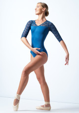 Ballet Rosa 3/4 Sleeve Open Back Leotard Blue Front-1 [Blue]