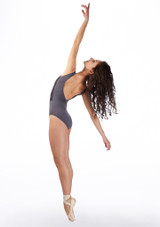 Ballet Rosa Open Back Embroidered Leotard Grey back. [Grey]