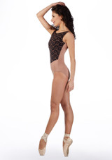 Ballet Rosa Open Back Embroidered Leotard Brown side. [Brown]