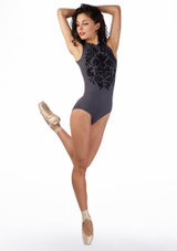 Ballet Rosa Flock Zip-up Leotard Grey front #2. [Grey]