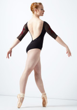 Ballet Rosa Floral Embroidery 3/4 Sleeve Mesh Leotard Black-Red back. [Black-Red]
