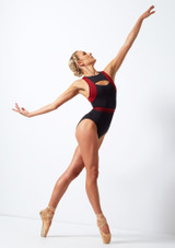 Move Dance Strength Cut Out Leotard Red back #2. [Red]