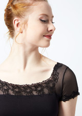 Ballet Rosa Scroll Embroidery Cap Sleeve Mesh Leotard Black front #2. [Black]