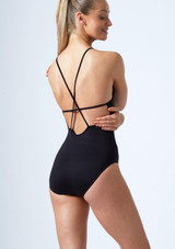 Move Dance Haze Cross Back Mesh Leotard Black back. [Black]