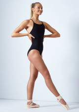 Move Dance Haze Cross Back Mesh Leotard Black front. [Black]