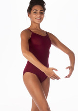Alegra Shiny Cleo Leotard Red front. [Red]