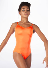 Alegra Shiny Cleo Leotard Orange front. [Orange]