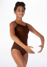 Alegra Shiny Cleo Leotard Brown front. [Brown]