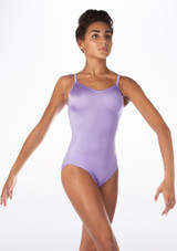 Alegra Shiny Cleo Leotard Purple front. [Purple]