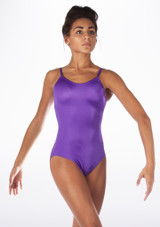 Alegra Shiny Cleo Leotard Purple front #2. [Purple]