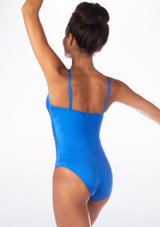 Alegra Shiny Cleo Leotard Blue back. [Blue]