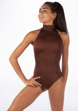 Alegra Shiny Nola Leotard Brown front. [Brown]