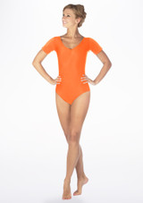 Alegra Shiny Melody Leotard Orange front. [Orange]
