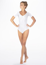 Alegra Shiny Melody Leotard White front. [White]