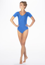 Alegra Shiny Melody Leotard Blue front. [Blue]