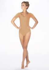 Alegra Shiny Melody Leotard Tan front. [Tan]