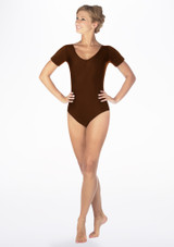 Alegra Shiny Melody Leotard Brown front. [Brown]