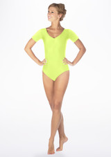 Alegra Shiny Melody Leotard Yellow front. [Yellow]